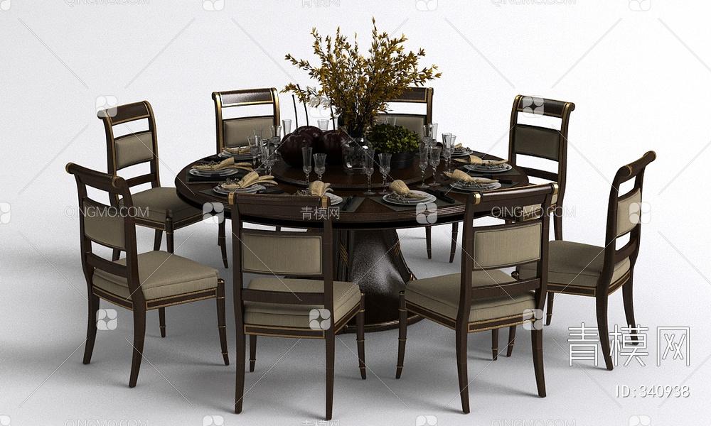 餐桌椅餐具组合3d模型下载【ID:340938】