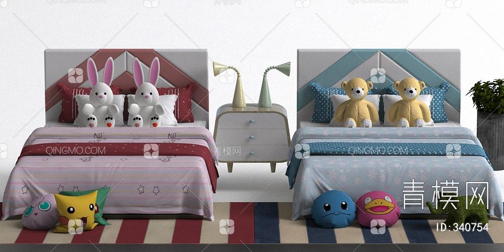 现代男女儿童床组合