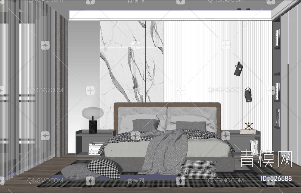 现代家具卧室su模型下载【ID:526588】