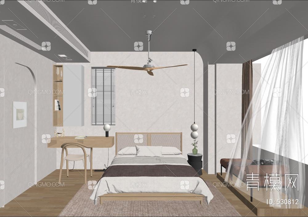 卧室 床具组合su模型下载【ID:530812】
