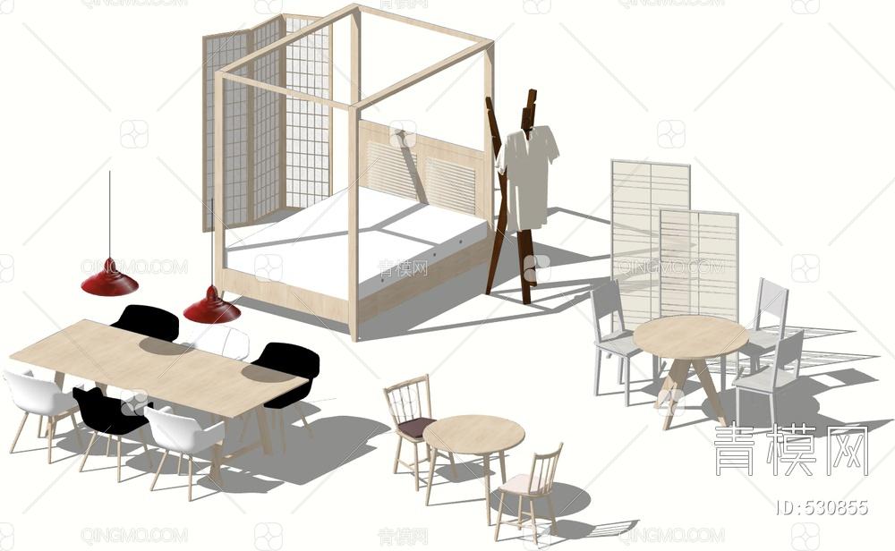 餐桌椅家具组合su模型下载【ID:530855】
