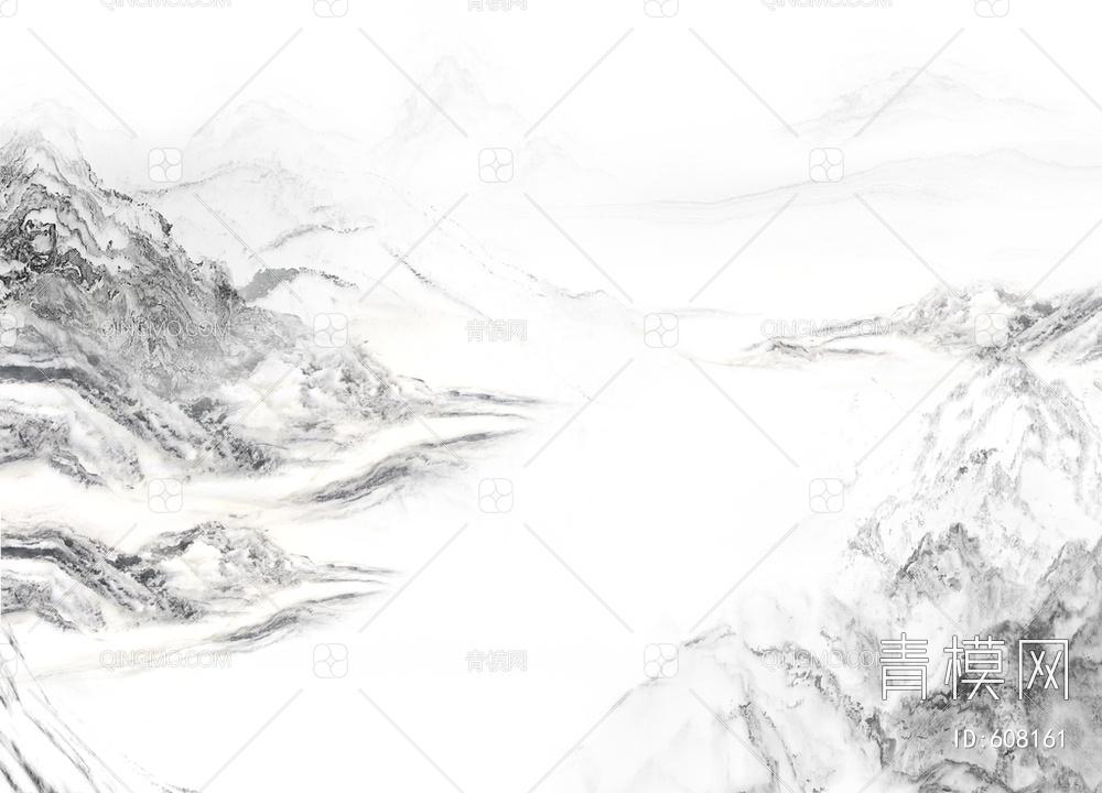 白色大理石山水画 背景墙 水墨画贴图下载【ID:608161】