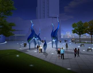 建筑户外夜景雕塑