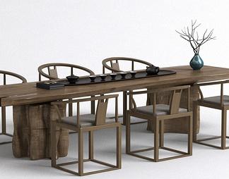 茶桌椅组合3d模型下载【ID:337037】