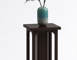 中式高凳花瓶组合