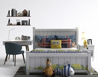 现代书桌儿童床组合