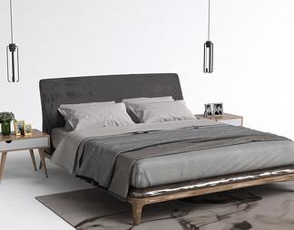 现代吊灯卧室床
