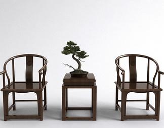 中式单椅边几组合