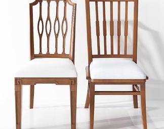 美式单椅餐椅组合3D模型