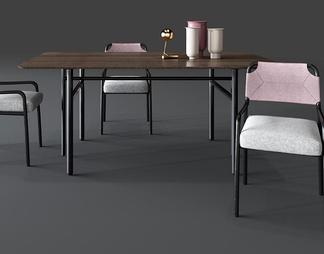 北欧餐桌椅子组合3D模型