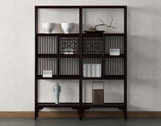 中式装饰柜 书架 摆件3D模型