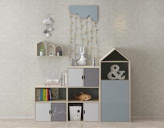 现代儿童书柜架3D模型