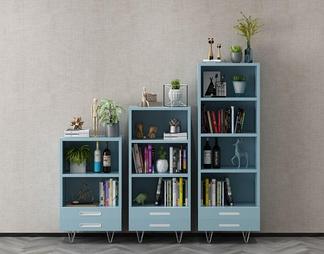 现代书柜组合3D模型