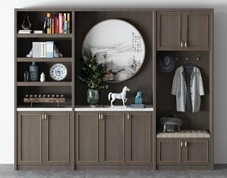 中式轻奢玄关柜3D模型