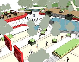 现代公园广场景观设计SU模型