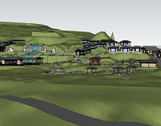欧式温泉区整体模型温泉SPA度假区