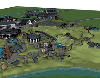 中式温泉区整体模型温泉SPA度假区