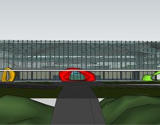 欧式温泉区建筑整体模型温泉SPA度假区