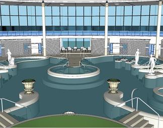 欧式温泉水疗馆建筑模型温泉SPA度假区