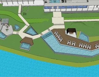 现代温泉区整体模型温泉SPA度假区
