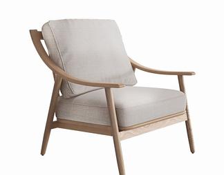 顾全 实木单人休闲沙发椅