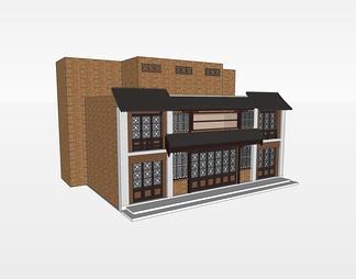 二层商业建筑SU模型SU模型下载【ID:387116】
