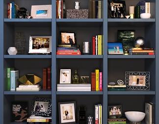 现代书籍摆件书柜