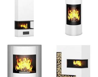 现代壁炉组合