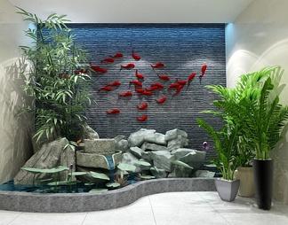 园艺小品假山竹子水景