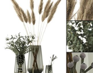现代玻璃瓶植物摆件3d