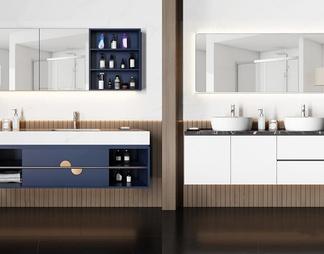 现代洗手台浴室柜组合