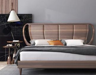 现代实木双人床