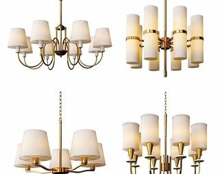 现代金属灯罩吊灯组合
