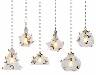 新中式金属蝴蝶玻璃吊灯