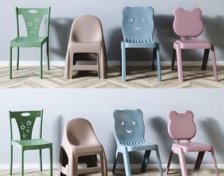 儿童塑料矮凳椅子组合3d模型下载【ID:510990】