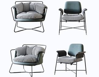 现代铁艺布艺休闲单人椅组合