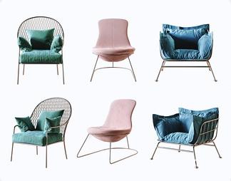 北欧铁艺单椅组合