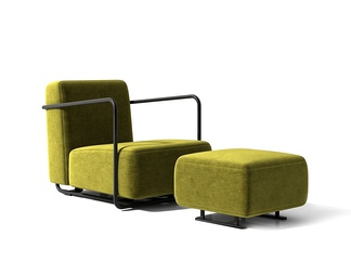 现代单人沙发脚踏组合
