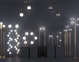 现代金属玻璃球灯具组合