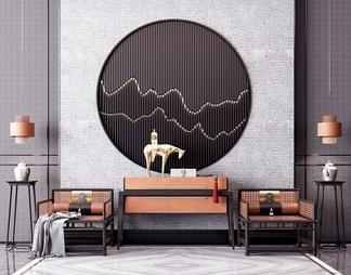 休闲桌椅背景墙组合3d模型下载【ID:518364】