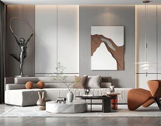 客厅沙发茶几组合3D模型3D模型下载【ID:522460】