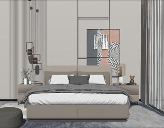 现代轻奢卧室双人床组合艺术挂画床头墙饰