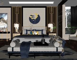 新中式家居主卧室