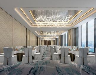 酒店宴会厅 水晶灯3D模型3D模型下载【ID:561300】