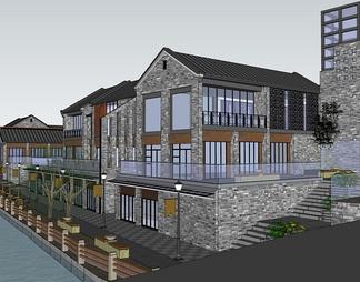 商业街建筑景观设计su模型下载【ID:566450】