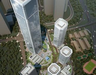 超高层城市综合体商业SU模型SU模型下载【ID:572716】