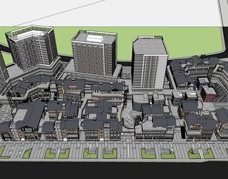 商业街区高层公寓SU模型SU模型下载【ID:572717】