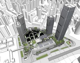 城市商业综合体CBDSU模型SU模型下载【ID:572718】