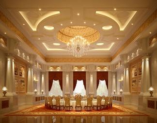 酒店宴会厅3D模型3D模型下载【ID:573891】
