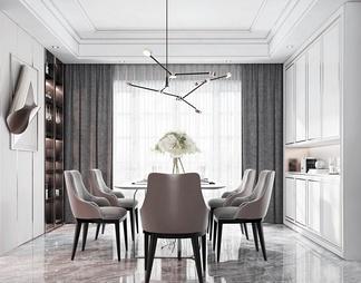 餐厅 餐桌 餐椅 吊灯3d模型下载【ID:580282】